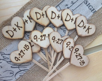 Cupcake Toppers Personalized Wood Hearts with Carved Initials & Date SET of 12 Rustic Wedding Engagement Anniversary Bridal Shower 1 Dozen