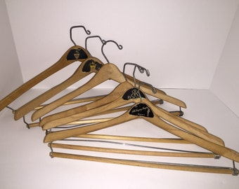 6 Vintage Wooden Clothes Hangers - Advertising Logos Pants Bar Square Metal Hook