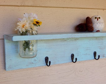 Rustic wood shelf, distressed shabby chic, Aqua home decor, Mason jar wall shelf
