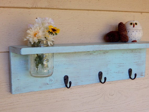 Rustic wood shelf, distressed shabby chic, Aqua home decor, Mason jar wall shelf