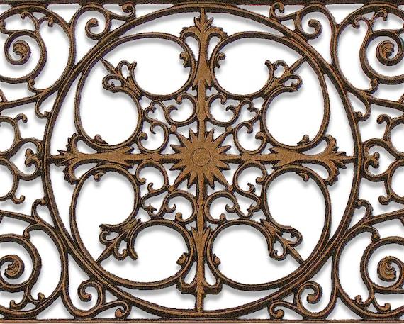 Decorative wrought iron balcony panel wall art plaque and - Wrought iron decorative wall panels ...
