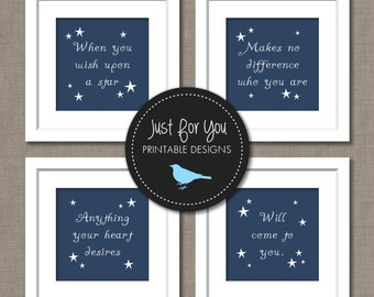 When You Wish Upon A Star - Disney Theme Song Lyrics - CUSTOM COLORS - Printable Wall Art - You Print (Digital Files)