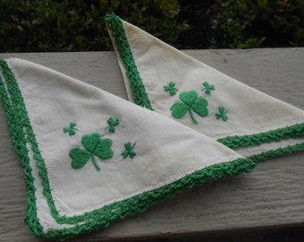 Shamrock Hankerchief, SET of TWO. 11 x 11 inch.  Embroidered.