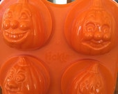 Vintage 3D Pumpkins with Silly Faces Soap Molds - 4 Cavity
