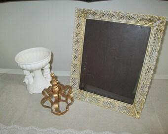 Metal filigree frame 8 x 10 vintage gold white frame shabby frame easel back frame vanity frame cottage style mid century frame