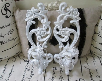White wall sconces Homco candle sconces vintage wall candle sconces shabby nursery decor cottage style sconces
