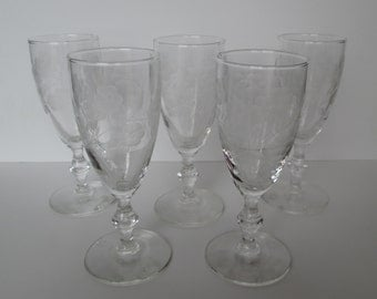 Etched wine glasses 5 floral etched cordial stemware fancy etched petite wine glasses holiday dining fine dining