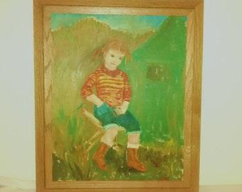 Vintage Oil Painting , Signed and framed , 1966 , Little girl pigtails