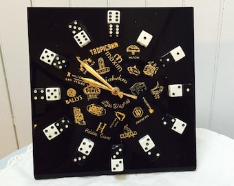Vintage 1970s Las Vegas Hotels/Dice Clock