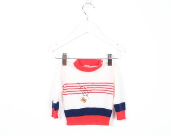Vintage Baby Sweater Red White Navy Blue Musical Instrument Staff Butterfly Notes Embroidered Jumper Striped Preppy Pullover Knit 0 3 m 3m