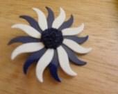 Navy and white enamel flower pin