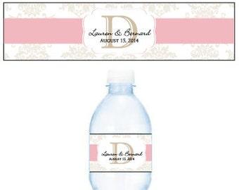 PDF Personalized Monogram Damask Script - D I Y Water Bottle Labels - PRINT @ HOME
