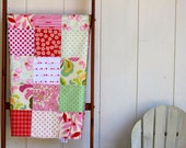 "Baby quilt  ""Retro""    Cotton and chenille patchwork quilt/blanket  Floral Pinks Reds"