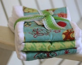 Set of Three Extra Large Burp Cloths for a baby boy space blues greens