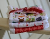 Set of Three Extra Large Burp Cloths for a baby girl   pinks animals
