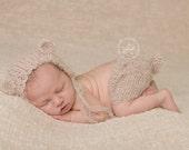 Knitted Teddy Bear Outfit, Newborn Outfit, Mohair Newborn Set