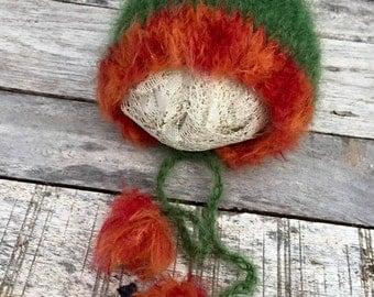 new born autumn colors bonnet,new born prop,orange and green bonnet