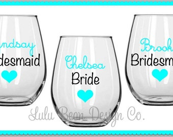 5 Bridesmaid Bride Maid of Honor Stemless Wine Glasses Personalized Wedding