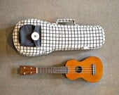 Soprano ukulele case - Black and white square pattern  Ukulele Bag (Made to order)