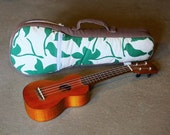 Soprano ukulele case - Green Leaf Japanese Cotton Denim Ukelele Bag (Made to order)