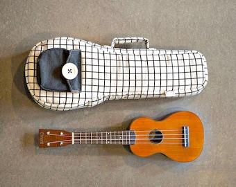 Soprano ukulele case - Black and white square pattern  Ukulele Bag (Made to order)