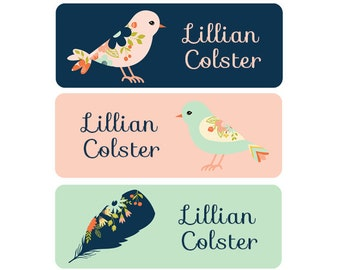 Name Labels, Girl, Dishwasher Safe, Waterproof, School Labels, Daycare Labels, Clothing Name Tags, Birds, Flowers, Feathers, Pink Mint Navy