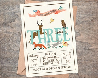 Woodland Birthday Party Invitation-Animals, Forest, Hand drawn // Digital or Printed (FREE SHIPPING!)