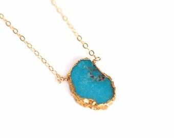 Turquoise Slice Gemstone Necklace