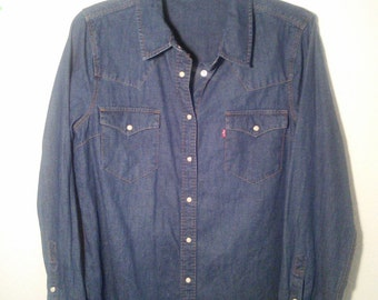70s Levis Western Pearl Snap Denim Shirt L XL