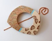 Polymer Clay and Copper Wire Shawl Pin, Fall inspired scarf pin