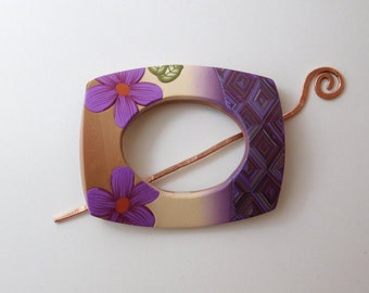 Shawl Pin, polymer clay scarf pin, purple and tan brooch
