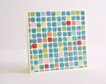 Blue Mini Cards and Envelopes Glittered Tiles Blank Mini Cards White Envelopes Set of 8
