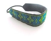 Boho headband  jacquard head band blue vintage trim women hair accessory