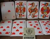 Vintage Playing Cards in Leather Case Germany 1960 F.X. Schmid Co.Spielkarten-Fabriken Bockeburg Schloss Castle on Front Souvenir