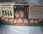 Near Perfect Box of Vintage Musical Christmas Bells with Lights Plays Eight Different Christmas Songs 1970's-80's