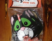 NOS Vintage Halloween Party Blow Outs Black Cat Made by Fun-World