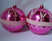 Two Large Beautiful Handpainted Pink Silvered Christmas Ornaments with White Flowers Sparkly Grass and Fence ~50's