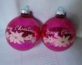 Two Pink Flocked Shiny Brite Silvered Glass Christmas Ornaments Merry Christmas with Poinsettias ~1950
