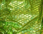 "Spandex Metallic foil scales 58"" Wide 4-Way Stretch Grass Green Jumbo Mermaid Hologram  Fabric by the yard"