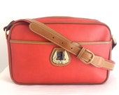 Vintage Lancel Red Coated Canvas and Leather Bag Made in Italy