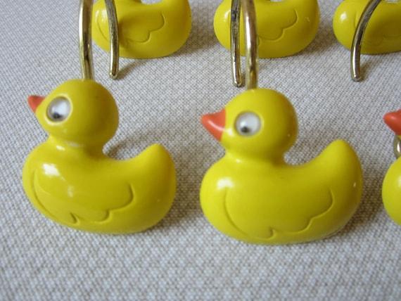 Shower Curtain Rings Yellow Ducks Moving Eyes Yellow