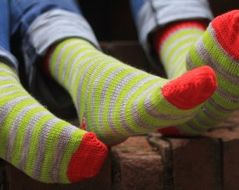 Hand KNITTED WOOL SOCKS  - merino - red withlime green and grey stripes- stunning colours  - Silver Star - made for couples - valentine's