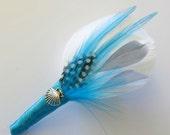 Beach Wedding Groomsmen Boutonniere White , Aqua, Feather Boutonniere Lapel Pin Buttonhole
