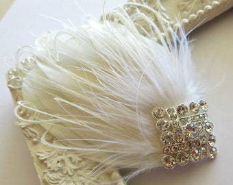 Bridal Feather Hairpiece Gatsby Wedding,1920s, Ivory, White, Bridal Head Piece, Feather Fascinator