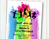 DANCE or TRAMPOLINE Party Invitation - Printable Birthday Invite - for Boys or Girls Bounce Party - Personalized DIY