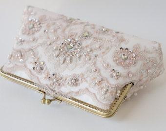 Pink Rose Quartz Bridal Clutch / Bridesmaid Clutch Purse / Personalized Clutch / Wedding Lace Clutch