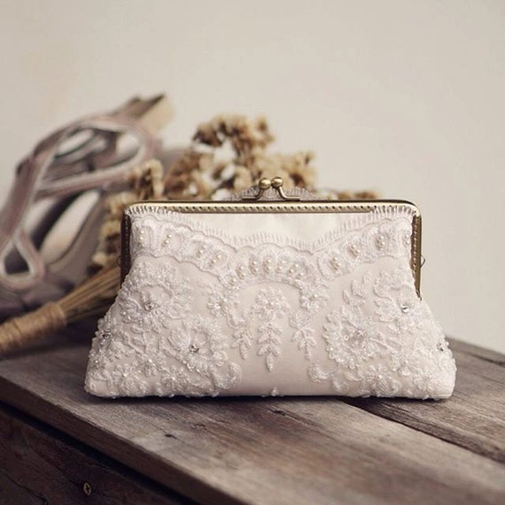 Ivory Bridal Lace Clutch / Vintage Inspired / By LeelaPurse