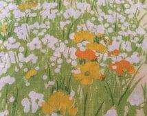 Full Flat Floral Sheet - Green Ferns - Orange Yellow White Flowers - No Iron Muslin -Midcentury - Shabby Cottage Chic - Bedding - Fabric -
