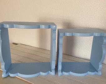 Wall Shelves -  Set Of 2 - Light Blue - Bathroom - Beach Cottage - Childs Room Decor  -  Baby's Nursery  - Wood Shelf - Display Shelf