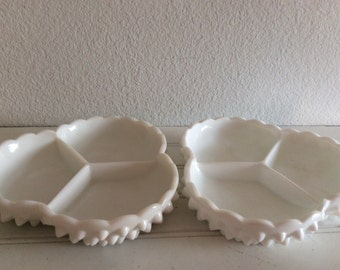 Milk Glass Hobnail Candy Dishes - Divided Dish Set Of 2 - Bridal Shower Serving Dishes - Candy Buffet - Shabby Cottage Chic - French Cottage
